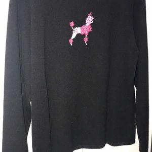 BLACK CASHMERE SWEATER WITH PINK POODLE XL